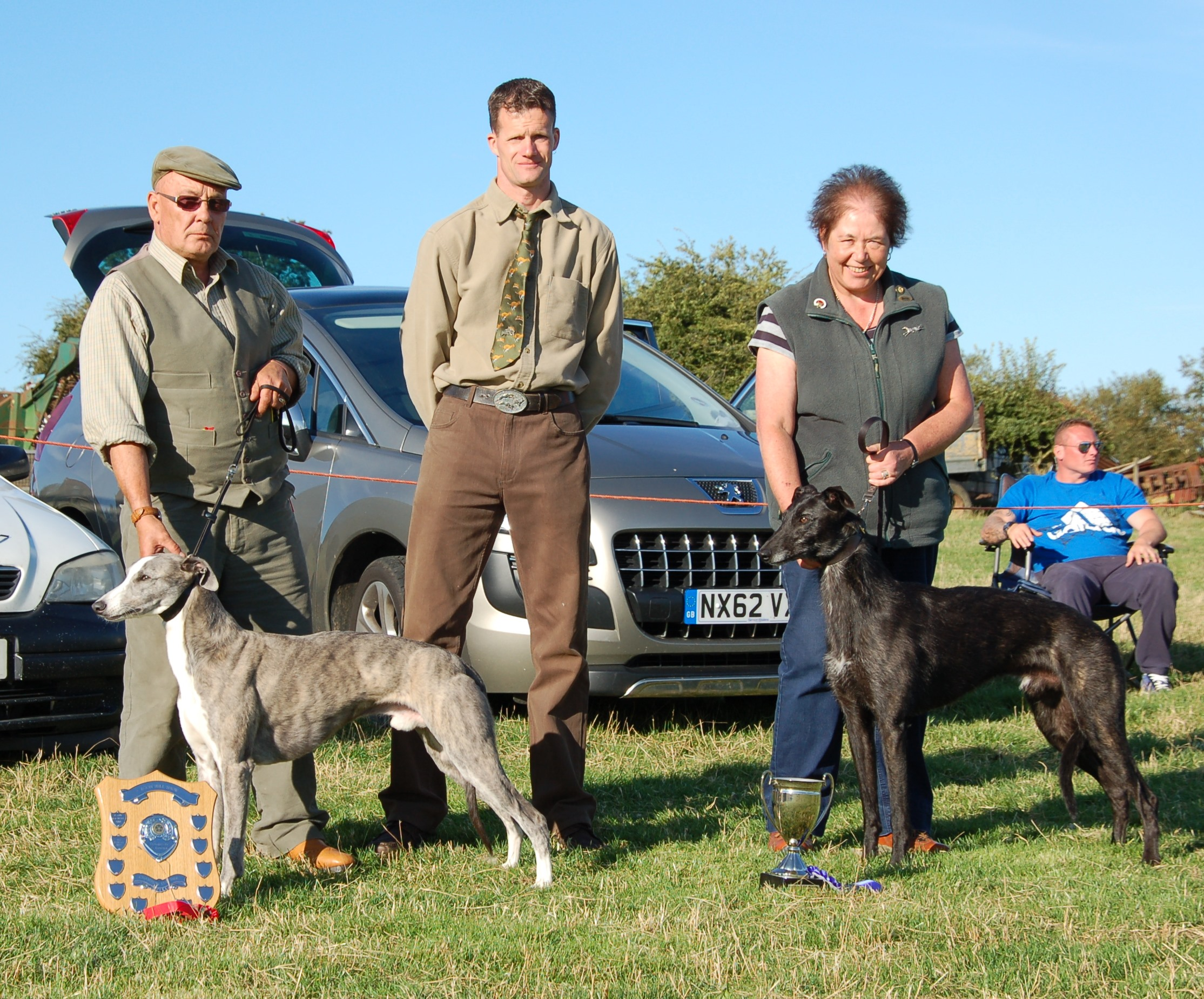 Champion & Reserve Lurchers, Colin Bakers Toad & Margaret Hague's Jed.